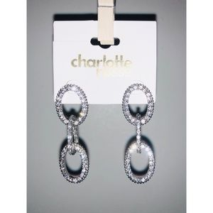 Charlotte Ruse Sparkly Diamond Chain Earrings